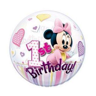 "Bubbles/ Buborék lufi, Happy 1st Birthday, Minnie 22""/56cm"