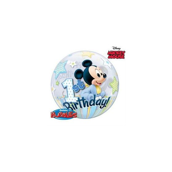 "Bubbles/ Buborék lufi, Happy 1st Birthday, Mickey , 22""/56cm"
