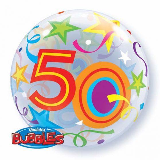 """Bubbles/ Buborék lufi, 50. születésnapra, 22""""/56cm"""