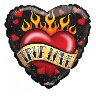 SZÍV ALAKÚ FÓLIA LUFI TRUE LOVE FELIRATTAL