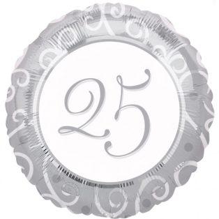 """FÓLIA LUFI, 17""""/43cm, GÖMB, EZÜST """"25"""""""