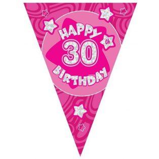 30 ÉVSZÁMOS PINK HAPPY BIRTHDAY ZÁSZLÓ FELIRAT