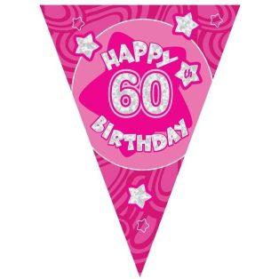 60 ÉVSZÁMOS PINK HAPPY BIRTHDAY ZÁSZLÓ FELIRAT