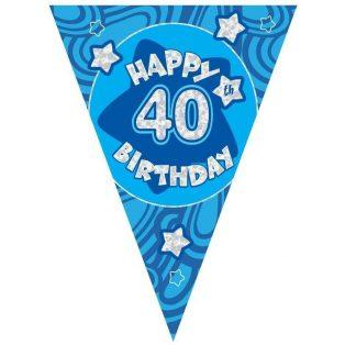 40 ÉVSZÁMOS KÉK HAPPY BIRTHDAY ZÁSZLÓ FELIRAT