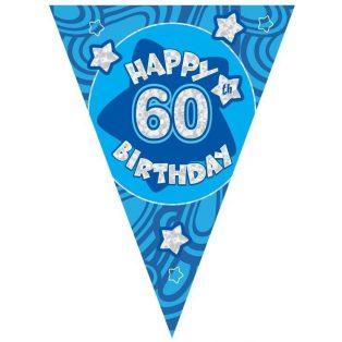60 ÉVSZÁMOS KÉK HAPPY BIRTHDAY ZÁSZLÓ FELIRAT