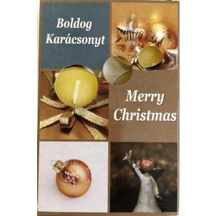 GYERTYA, ILLATMÉCSES, 6 DB/CSOMAG, MERRY CHRISTMAS