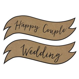 "FELIRAT, KARTON, 2DB/CS,  ""HAPPY COUPLE"" ÉS ""WEDDING"""