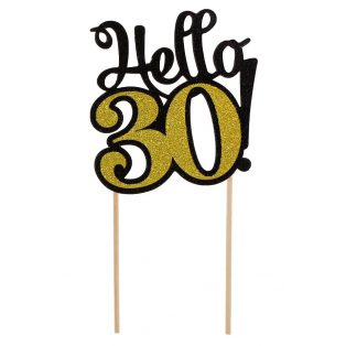 HELLO 30 GLITTERES DEKORÁCIÓ