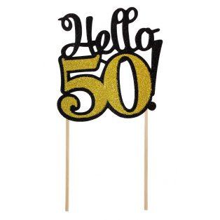 HELLO 50 GLITTERES DEKORÁCIÓ