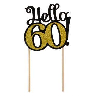 HELLO 60 GLITTERES DEKORÁCIÓ