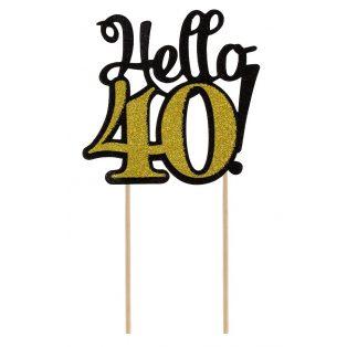HELLO 40 GLITTERES DEKORÁCIÓ