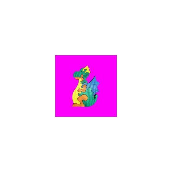 FA PUZZLE, (2,5cm VASTAG) SÁRKÁNY, 19 cm, 9 részes