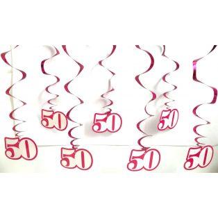 """SPIRÁLOS FÜGGŐDÍSZ, """"50"""", 8 DB/CS, PINK"""