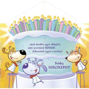 SZÜLETÉSNAPI ÜDVÖZLŐLAP BORÍTÉKKAL, SZÜLINAPI TORTA