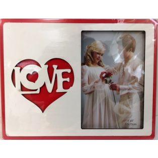 KÉPKERET, 23x18 cm, FEHÉR-PIROS, LOVE