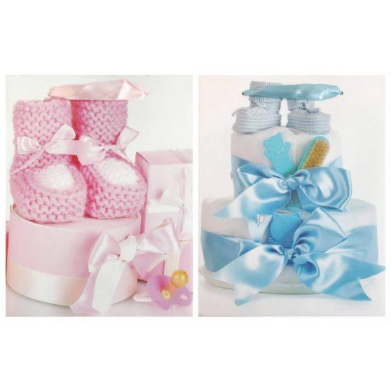 Szalagfüles táska baba születésére, közepes