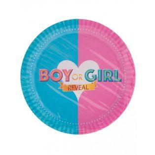 "PARTI TÁNYÉR, ""BOY OR GIRL"", 23 CM, 8 DB/CS"